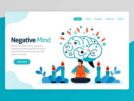 Illustration of negative mind. Meditation for healthy, healing, spiritual, relaxation, anti depression, ease mind, treatment. Vector cartoon for website homepage header landing web page template apps Stock Illustratie