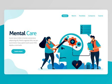 Illustration of mental care. repair mind and psychology. Awareness for mental illness. Care for mental health, mind, brain. Vector cartoon for website homepage header landing web page template apps Stock Illustratie