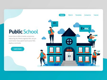 Vector illustration for education landing page. Public school buildings and workplace, online education scholarship, modern learning, e-learning training  platform. Homepage header web page template Illustration