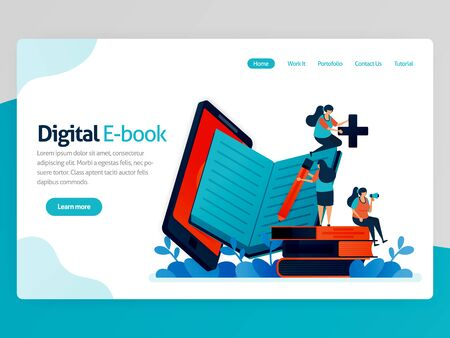 Vector illustration for digital ebook landing page. Mobile apps for reading, writing, studying. modern library platform. Online learning, language education. Homepage header web page template apps Stock Illustratie