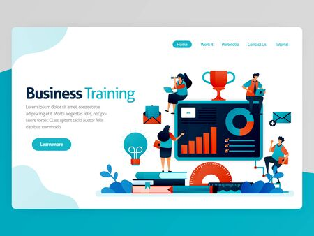 Vector illustration for business training landing page. Business and entrepreneurship seminar. Read statistic for strategy analysis. Graph and accounting chart. Homepage header web page template apps