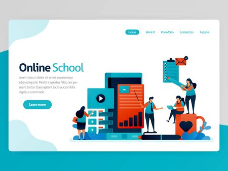 Vector illustration for online school landing page. Mobile apps for education and learning. Video tutorial, online classroom, webinar lesson, distance learning. Homepage header web page template apps  イラスト・ベクター素材