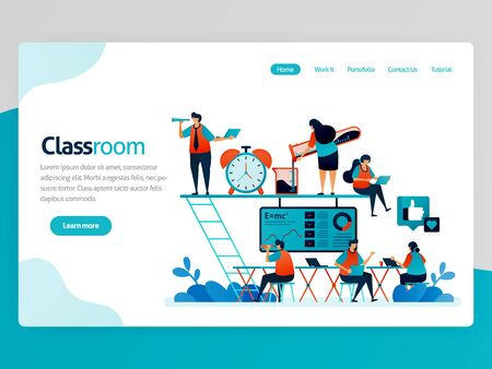 Vector illustration for classroom landing page. Modern and cozy class for millennials. Pleasant lesson. Startup workspace and coworking space. Fun education. Homepage header web page template apps  イラスト・ベクター素材