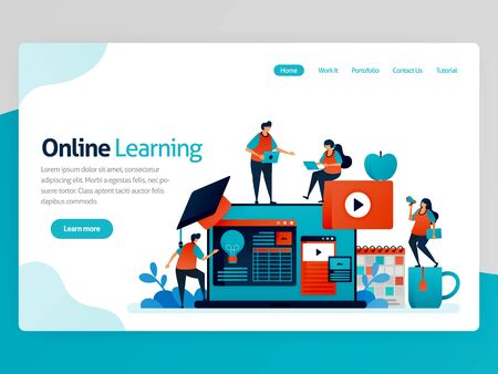 Vector illustration for online learning landing page. Distance learning. Idea of educational efficiency. Accounting lesson, learning platform, tutorial video. Homepage header web page template apps