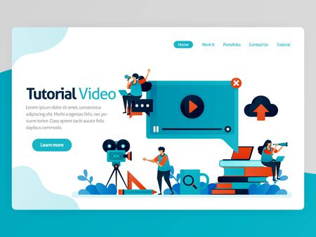 Vector illustration for video tutorial landing page. Learning platform, broadcast production for education. Modern learning. Tutoring chat and webinar lessons. Homepage header web page template apps Stock Illustratie