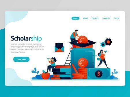 Vektorillustration für die Landingpage des Stipendiums. Stipendienprogramm für herausragende Studierende. Spenden und Bildungseinsparungen. Fördermittel für das Studium. Homepage-Header-Webseitenvorlagen-Apps