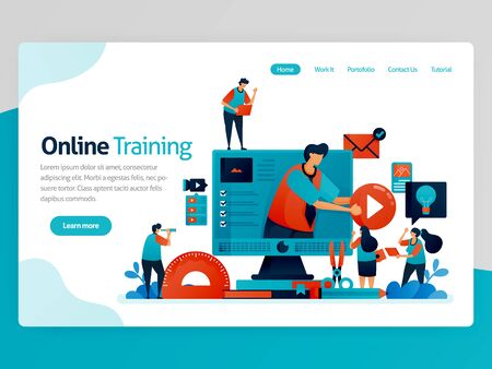 Vector illustration for online training landing page. Web and learning apps. Modern education, distance learning and elearning. Interactive courses and tutoring. Homepage header web page template apps  イラスト・ベクター素材