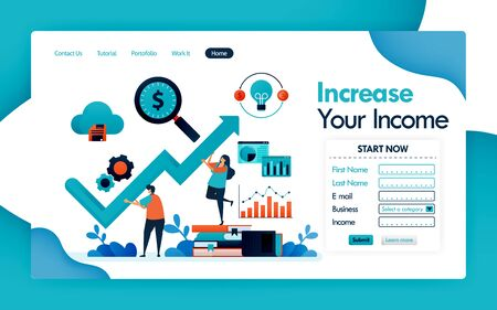 landing page for business and increase in revenue, increases in income and profit in company, chart and graph for statistical analysis and financial strategy. vector design flyer poster mobile apps  イラスト・ベクター素材