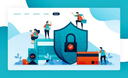 landing page for financial security, banking protection for investment, credit, loans, debt, savings. customer data security and privacy, pay, buy, purchase. vector design flyer poster mobile apps ads Stock Illustratie