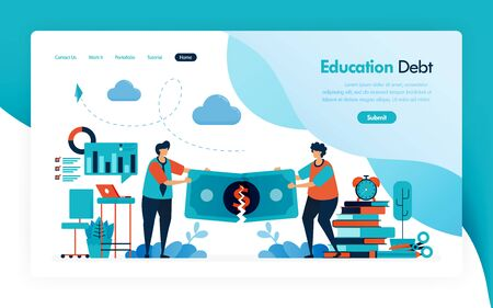 landing page for tuition fees, education debt, scholarship loan, torn of money, budget for learning and university, financial donation and charity for education. vector design for flyer poster mobile