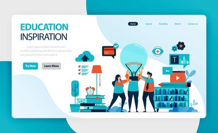 landing page for education ideas and inspiration. people hold light bulb. learning leadership and motivation. brainstorming in teaching and innovation. vector design for business card homepage website