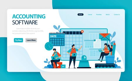 landing page of accounting software. Accounting process of recording financial transactions pertaining to business. summarizing, analyzing, and reporting to oversight agencies, regulators, and tax Illustration