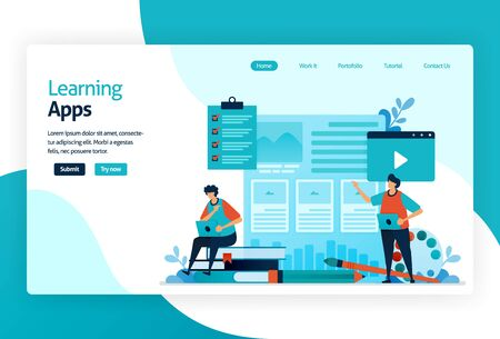 Illustration of landing page for Learning apps. Education process of learning knowledge, skills, values, beliefs, and habits. Digital technology in teaching, training, storytelling, discussion. Stock Illustratie