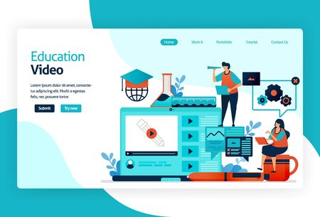 Illustration of landing page for education video. transferring knowledge knowledge, skill, value, habit in digital technology platform. instruction to complete task to interactive problem solving