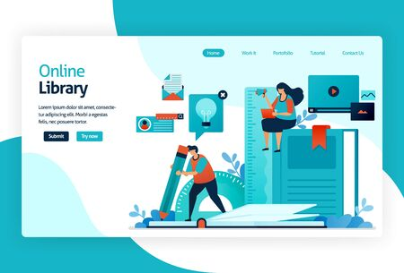illustration of landing page for digital library. repository or collection of online database of text, images, audio, video, or other media format. organizing, searching, and retrieving book and print
