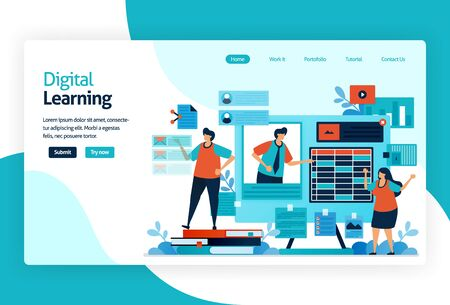 illustration of landing page for digital learning. learning by technology or instructional practice that effective for transferring knowledge, skill, value, belief, and habit. adaptive and analytics  イラスト・ベクター素材