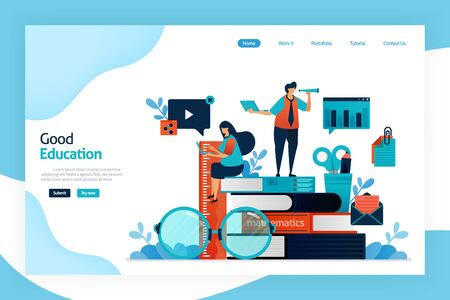 landing page design of good education. system that make student better in learning and increase a creativity and enjoy studying. developing knowledge, intelligence. designed for website, mobile apps Stock Illustratie