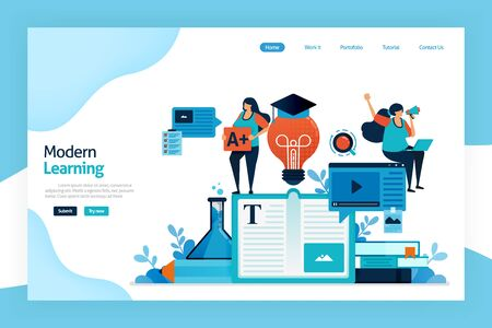 Landing page of modern learning. Educational process to acquiring idea, modifying knowledge, behaviors, skills, values, literacy, preferences with technology. designed for website, mobile apps, poster
