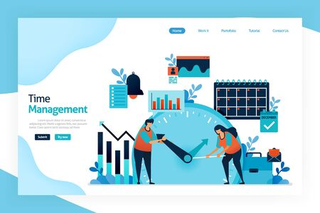 Landing page of Time management. planning, strategy control of time spent in activities. increase effectiveness, efficiency, and productivity on work, social life, family, hobbies, personal interests Stock Illustratie