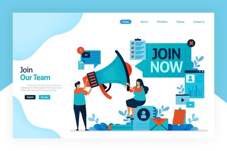 Landing page of join now. hiring and open recruitment of employee. referral memberships business. megaphone for refer a friend. resume application and job interview. designed for website, mobile app Stock Illustratie