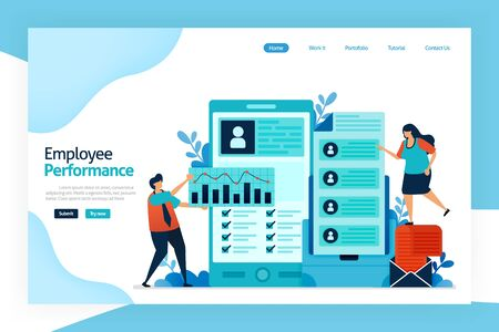 Landing page of employee performance. attracting, shortlisting, selecting and appointing candidates for jobs. employment agencies, commercial recruitment, specialist search consultancies, Job analysis Stock Illustratie