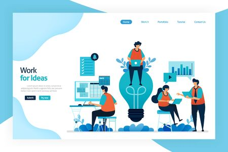 Landing page of work for idea. Employee work and discuss to improve company performance, services, financial gain. Big idea for problem solving and managing risk. Designed for website, mobile apps Stock Illustratie