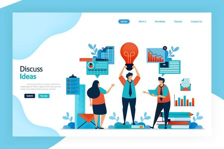 Landing page of discuss idea. Brainstorming to get a business idea that innovative, unique, problem solving, profitable. Improving business strategy and product innovation. For website, mobile apps  イラスト・ベクター素材