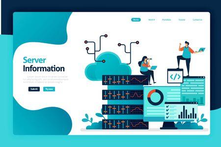 Server information landing page design. regulate flow of information in database, data center, big data, server room, analyzing statistics. vector illustration for poster, website, flyer, mobile app