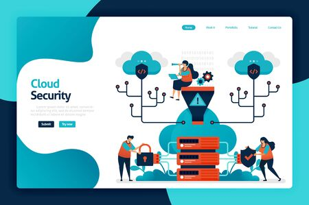 Cloud security landing page design. protect and secure database access. security and protection of personal data, hacker and cyber crime. vector illustration for poster, website, flyer, mobile app