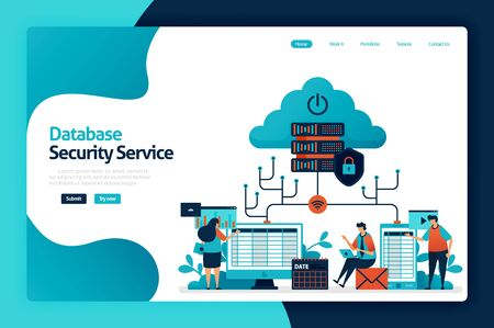 Database security service landing page design. safety internet data access, user privacy protection, firewall service for guard and control. vector illustration for poster, website, flyer, mobile app