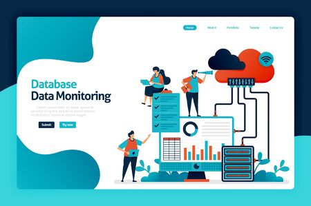 Database data monitoring landing page design. maintain user data security and protection. analysis and statistics of user behavior chart. vector illustration for poster, website, flyer, mobile app Stock Illustratie