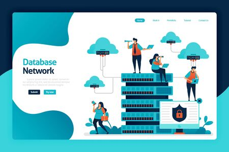 Database network landing page design. data network from cloud, server and hosting to data center. data protection and security technology. vector illustration for poster, website, flyer, mobile app Stock Illustratie