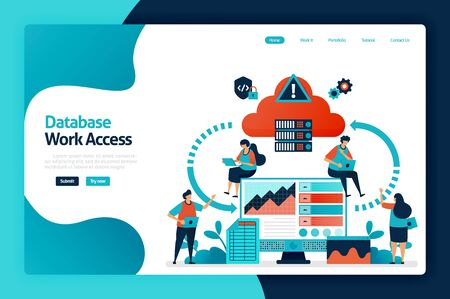 Database work access landing page design. database network flow and connection access. communication device with computing cloud storage. vector illustration for poster, website, flyer, mobile app