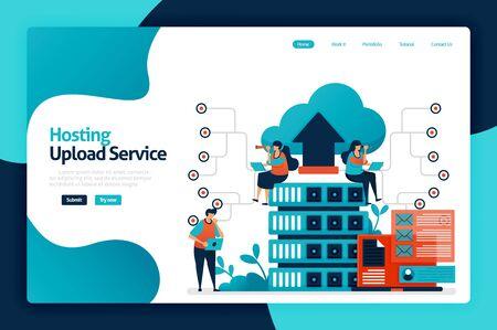 Hosting upload service landing page design. network upload database to server services, cloud, hosting. data backup and access protection. vector illustration for poster, website, flyer, mobile app