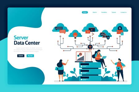 Server data center landing page design. data storage and analysis services in database, computing support and big data management services. vector illustration for poster, website, flyer, mobile app