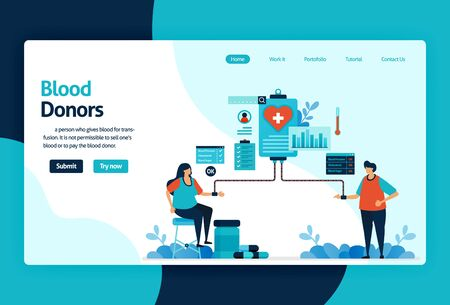 Vector flat illustration template of Blood donation and Charity. June 14 in blood donor day, medical check-up awareness, Transfusion in hospital. for banner, landing page, web, website, mobile apps Stock Illustratie