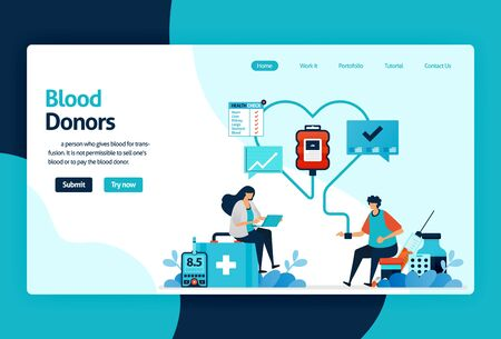 Vector flat illustration template of Blood donation and Charity. June 14 in blood donor day, blood Bank Transfusion, Doctors in Drop of Blood. for banner, landing page, web, website, mobile apps, ui