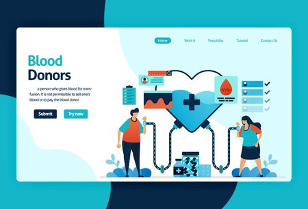Vector flat illustration template of Blood donation and Charity. June 14 in blood donor day, heart with a red cross symbol, medical check-up awareness. for banner, landing page, web, website, mobile