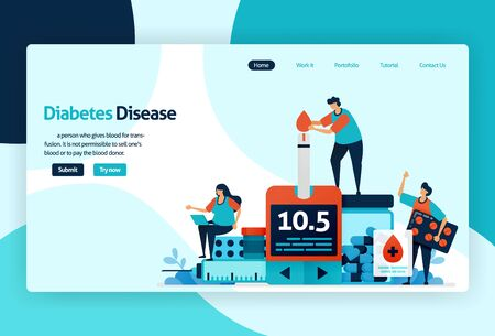 Vector flat illustration template of blood sugar and diabetes checks. awareness of insulin levels health checks in hospital, clinic, laboratory. for banner, landing page, web, website, mobile apps Stock Illustratie
