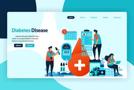 Vector flat illustration template of blood sugar and diabetes checks. blood sugar gauge, prevent and protect excess glucose, insulin levels limit. for banner, landing page, web, website, mobile apps  イラスト・ベクター素材
