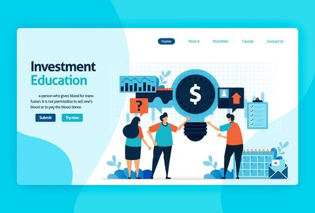 landing page vector design for investment education. return of investment with planning, stock market and mutual funds, fixed income, money market. for banner, illustration, web, website, mobile apps Stock Illustratie