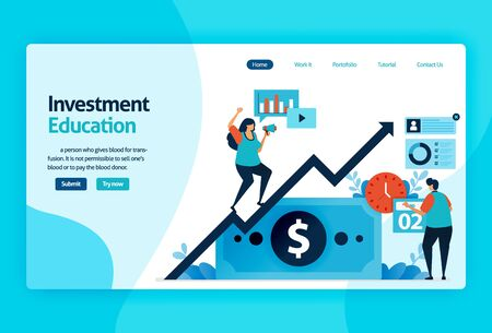 landing page vector design for investment education. stock market with strategy, analysis, planning. capital market growth, return of investment. for banner, illustration, web, website, mobile apps