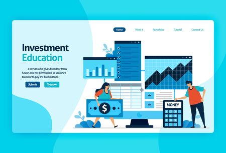 landing page vector design for investment education. return of investment with planning, stock market and mutual funds, fixed income, money market. for banner, illustration, web, website, mobile apps  イラスト・ベクター素材