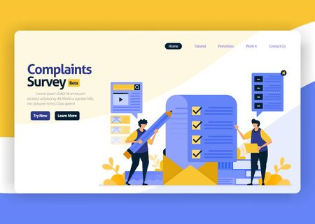 landing page vector flat design illustration of complaint survey services by email for negative ratings of user satisfaction and service improvement. for websites, mobile apps, banner, flyer, brochure