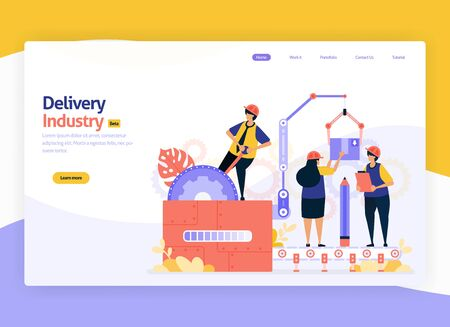 Vector illustration for industrial delivery, logistics warehouse storage items and shipping transit. machine industry and factories. For web, website, landing page, mobile app, banner, flyer, brochure