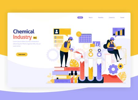Vector illustration for industrial chemical processing, chemical production and development plants, manufacturing and fuel industry. For web, website, landing page, mobile app, banner, flyer, brochure