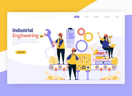 Vector illustration for industrial and machinery engineering. Jobs for maintenance, operation of industrial manufacturing machines. For web, website, landing page, mobile app, banner, flyer, brochure