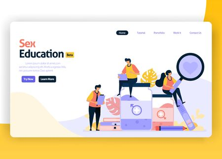Vector illustration landing page for education for student and school. Reproduction and for teenagers. Safe relation with condom. Web, website, landing page, mobile app, flyer, banner