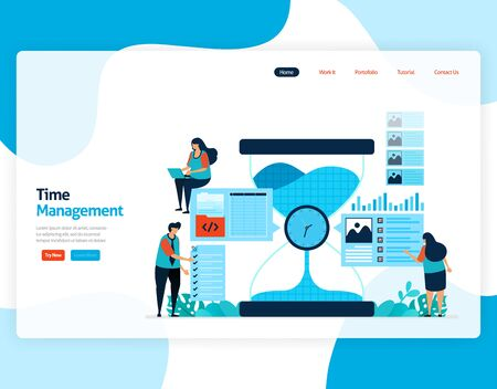 Landing page vector of time management and scheduling jobs project, Plan and manage work on time, Lack of time in business, Work with time. Illustration for website, mobile apps, homepage, flyer, card Illustration