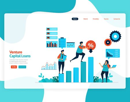 vector illustration of venture capital loans for SME development and investment. Low interest credit for young entrepreneurs and startup business. for website, landing page, banner, mobile apps, flyer Vettoriali
